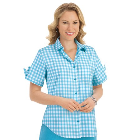 (Women's Gingham Check Camp Buttoned Shirt, Xx-Large, Blue)