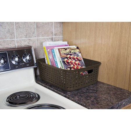 Sterilite Decorative Wicker-Style Short Weave Basket, Espresso (18 Pack) - image 5 de 6