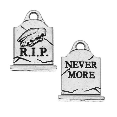 Antiqued Silver Lead-Free Charm - Grave Stone Halloween 20.5mm - Antique Halloween