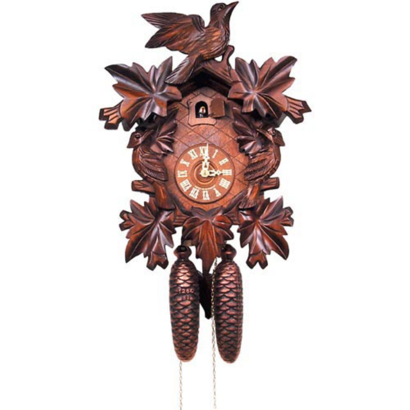 Weight Driven Carved Leaf And Bird Cuckoo Clock Walmart Com