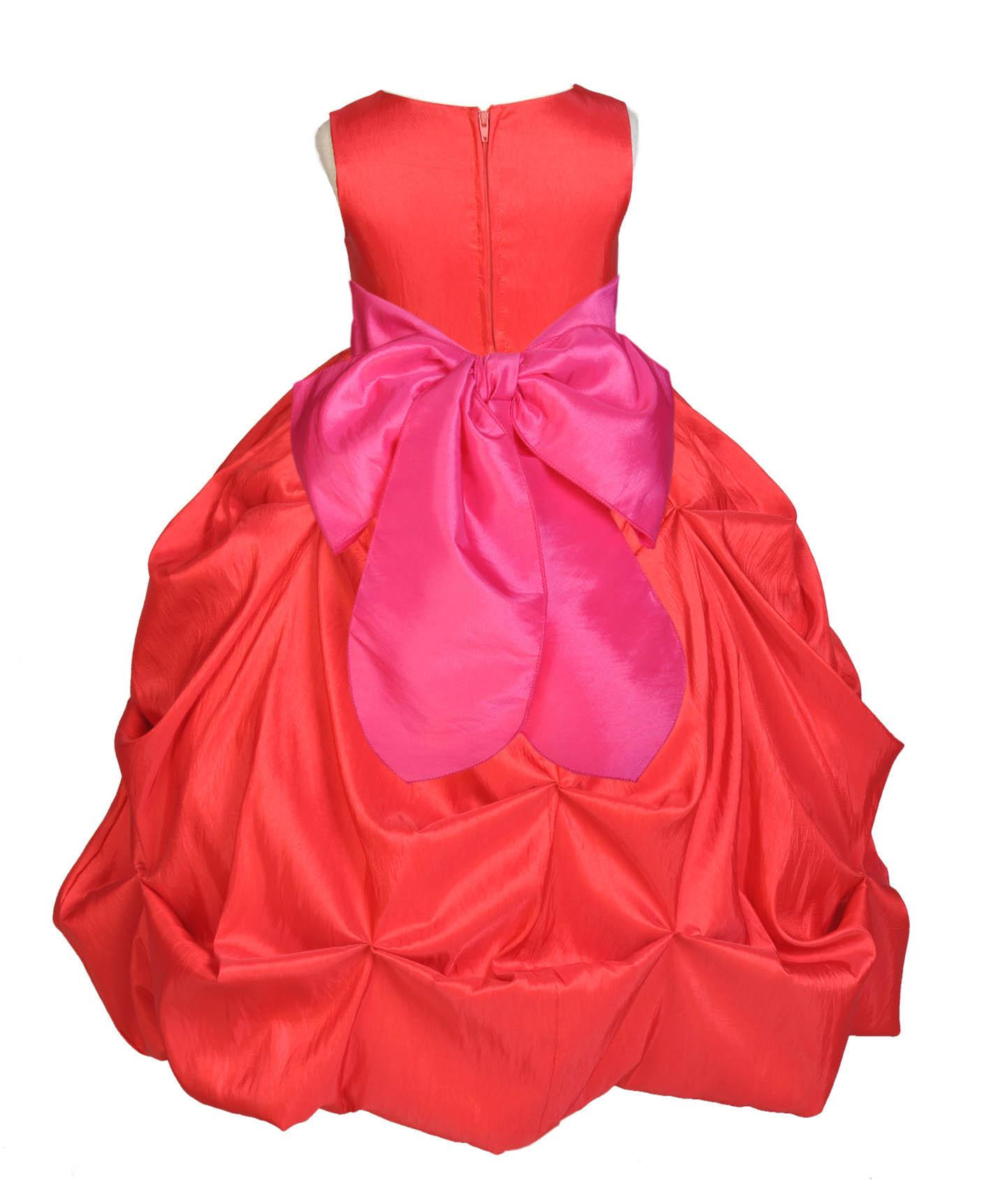 Ekidsbridal Taffeta Bubble Pick-up Red Flower Girl Dress Christmas Weddings Summer Easter Dress Special Occasions Pageant Toddler Girl's Clothing Holiday Bridal Baptism Junior Bridesmaid 301S