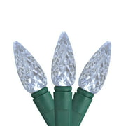 Set of 50 Faceted Polar White LED C6 Christmas Lights - Green Wire