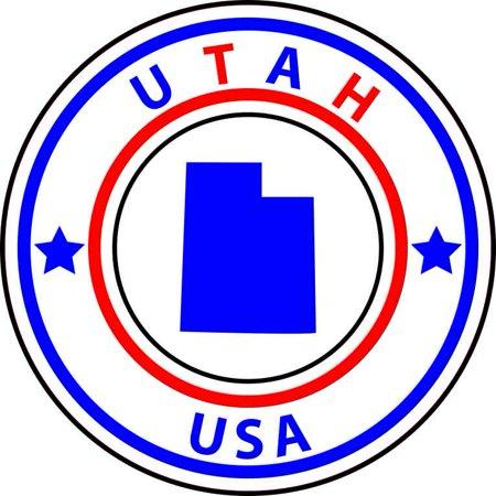 5X5 State Circle Utah Sticker Vinyl Hobby Car Bumper Sticker Tumbler Decal