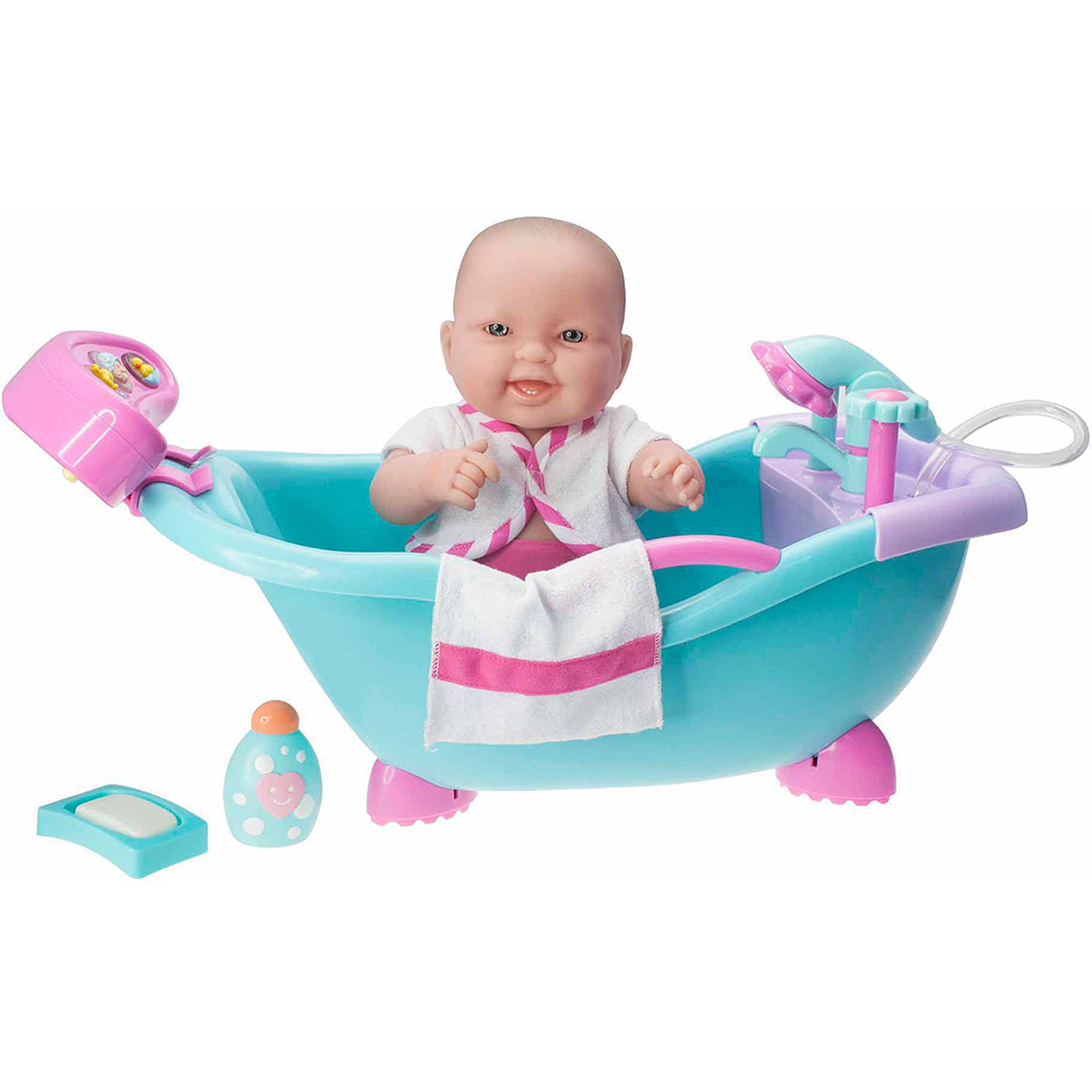 "Lots to Love Babies Electronic Sounds and Working Bath with 14"" All-Vinyl Doll and Accessories"