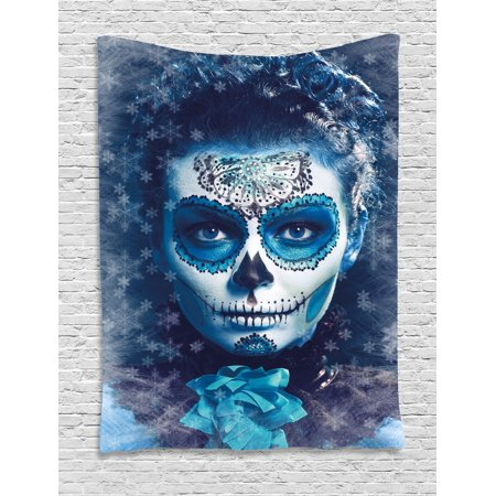 Sugar Skull Tapestry, Santa Muerte Concept Winter Season Ice Cold Snowflakes Frozen Dead Folkloric, Wall Hanging for Bedroom Living Room Dorm Decor, Multicolor, by - Santa Wall Hanging