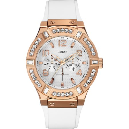 W0614L1,Ladies Casual,Multi-function,stainless steel,Rose gold tone,silione strap,Crystal Accented Bezel,WR
