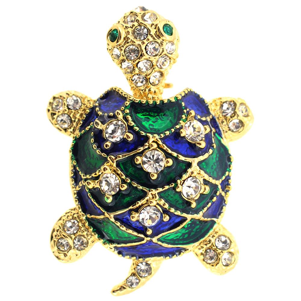 Green Turtle Swarovski Crystal Brooch Pin by
