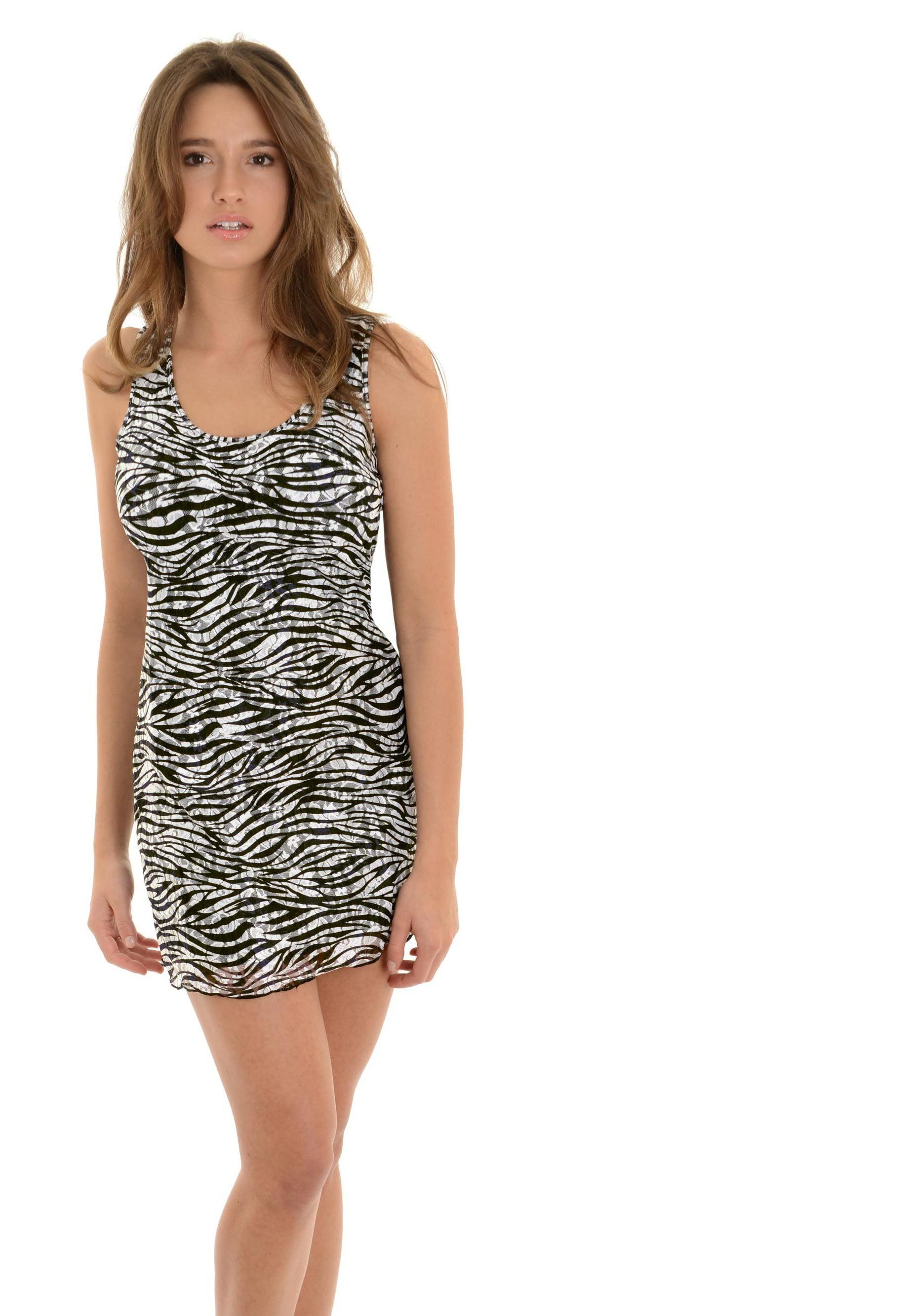 b7ec5bb2e0 Kontacious - Juniors Zebra Print Mini Dress Black White Dress Overlay  Racerback - Walmart.com