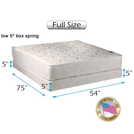 Dream Solutions Legacy 8 Inch Full Mattress and Low Profile Box Spring Set
