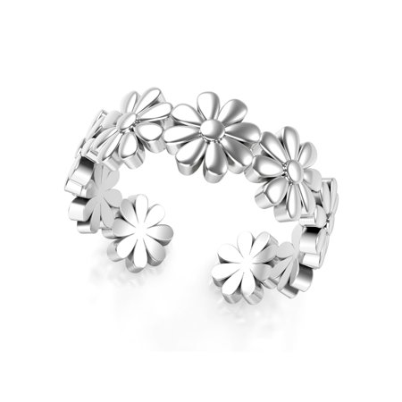 Sterling Silver Daisy Flower Adjustable Toe Band Ring (Adjustable Star Toe Ring)
