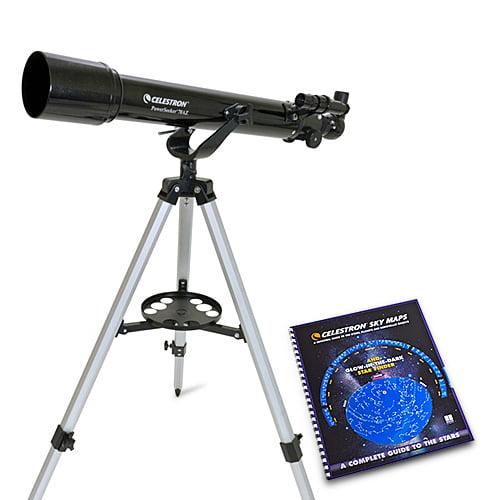 Celestron 21036 PowerSeeker 70AZ Telescope (Black)  with Skymaps