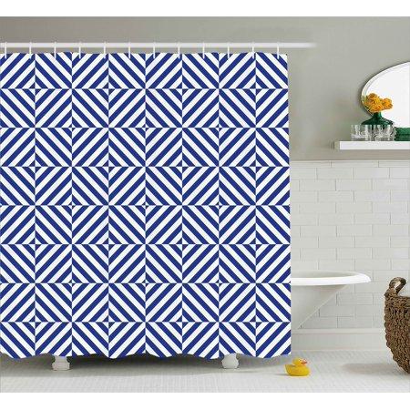 navy blue decor shower curtain, symmetric and asymmetric