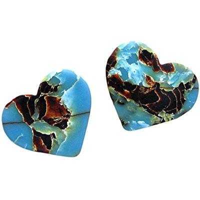 unique and custom (1.5 mm thick) heavy gauge hard plastic, traditional style semi tip guitar pick w/ cool marbled celluloid blue obsidian tones {blue & black - 2 picks multipack} heart shape