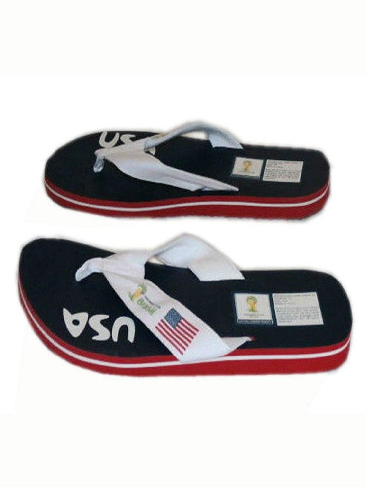 7e823049f1d5 Fanshoes - Adult FIFA World Cup Brasil Brazil USA Men s Thick Strap Flip  Flop Thong Sandals (6) - Walmart.com