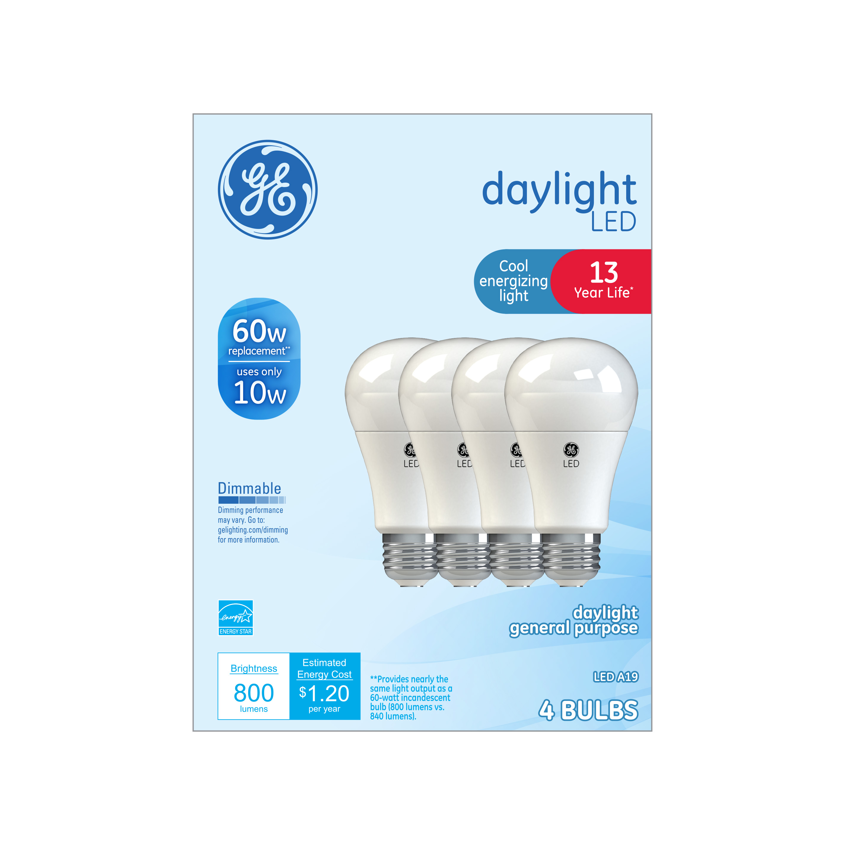 GE LED 10W Daylight General Purpose A19 Dimmable 4pk