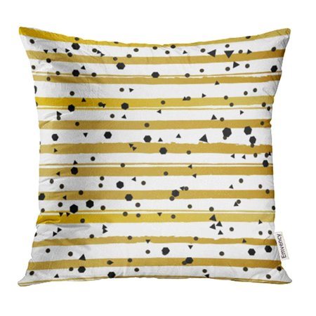 ARHOME Yellow Glam Gold Stripes Memphis Pattern Black Geometric Confetti Abstract Bright Pillow Case Pillow Cover 16x16 inch Throw Pillow Covers ()