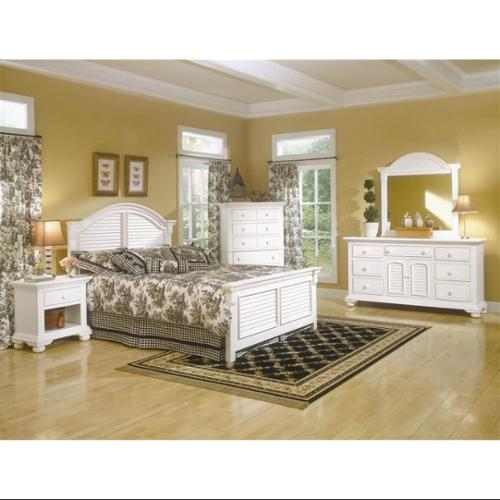 Cottage Traditions Panel Bedroom Set w 5 Drawer Chest - 5 Pcs (Twin)