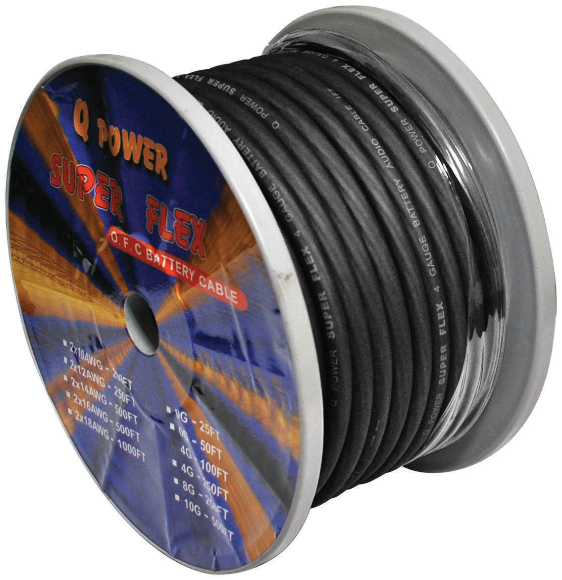 POWER WIRE 4GA. 100' BLACK QPOWER