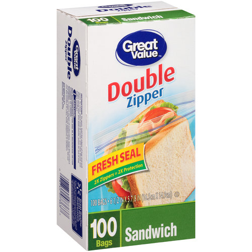 Great Value Sandwich Bags,  100 ct