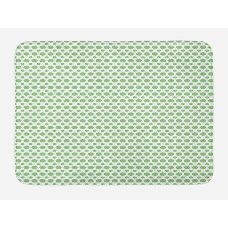 Green Bath Mat, 60s 70s Pop Art Inspired Retro Green Polka Dots Circles Vintage Design Art, Non-Slip Plush Mat Bathroom Kitchen Laundry Room Decor, 29.5 X 17.5 Inches, Fern Green and White, Ambesonne