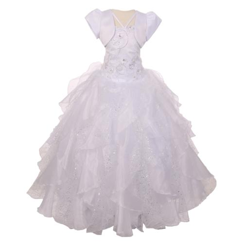RainKids Big Girls White Sequin Flower Layer Organza Tull...