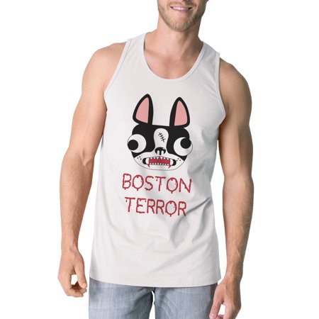 Boston Terror Terrier Mens Halloween Tank Top White Graphic Tanks - Halloween Boston Uk