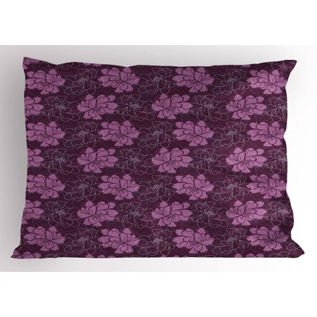 Spring Pillow Sham, Hand Drawn Blossoming Petal Silhouettes and Outlines Botanical Pattern, Decorative Standard Queen Size Printed Pillowcase, 30 X 20 Inches, Dried Rose and Plum, by Ambesonne ()