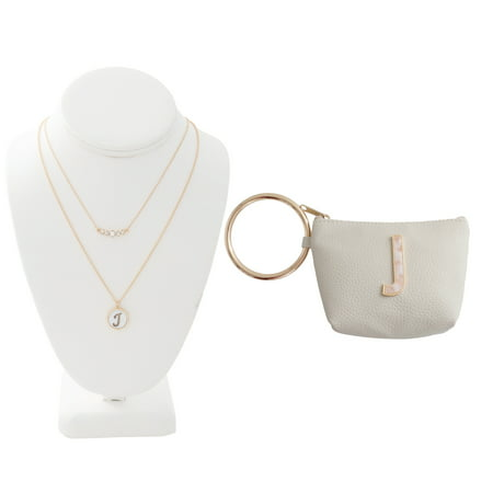 Time and Tru Gold Tone Genuine Mother of Pearl C Initial Necklace with Faux Leather C Initial Bangle Pouch Exclusive Genuine Pearl