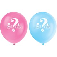 Latex Gender Reveal Party Balloons, Pink & Blue, 12in, 8ct
