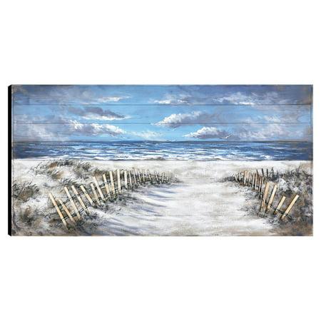 Artmaison Canada Walk To The Beach Hand Painted Wood Wall Art