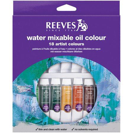 Reeves Water Mixable Oil Paints 10ml 18/Pkg-Assorted Colors