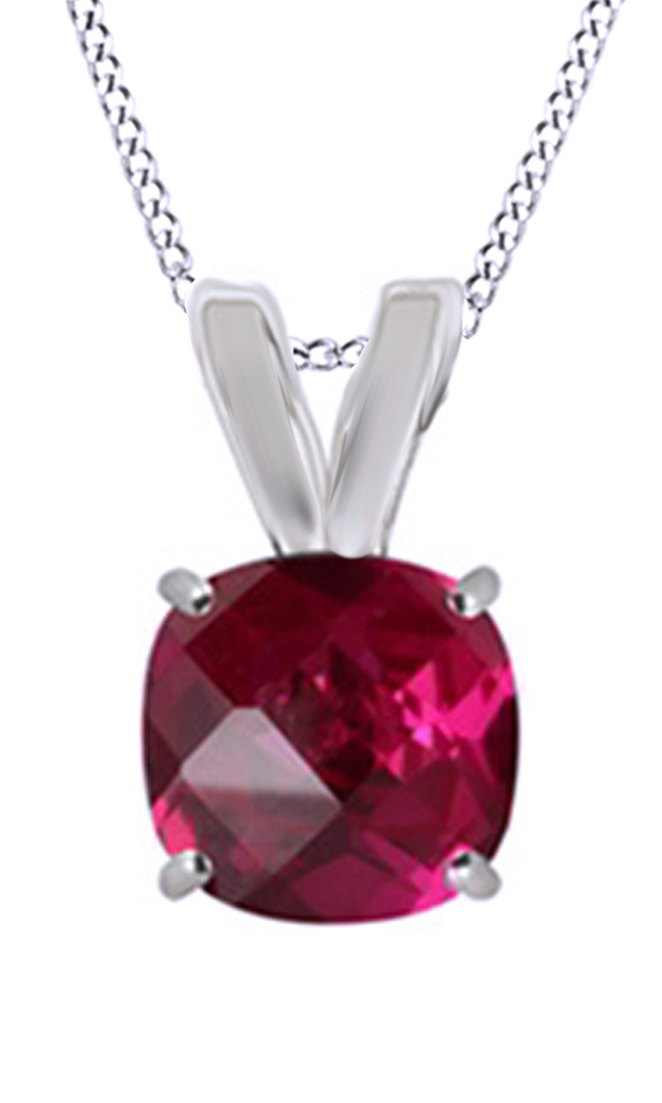 Simulated Ruby Cubic Zirconia Fashion Pendant Necklace In 14k White Gold Over Sterling Silver by Jewel Zone US