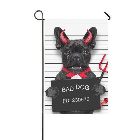 MKHERT Halloween Pug Dog Garden Flag Banner Decorative Flag for Wedding Party Yard Home Outdoor Decor 12x18 inch