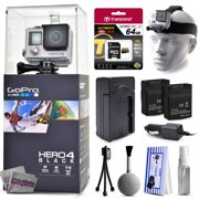 GoPro Hero 4 HERO4 Black CHDHX-401 with 64GB Ultra Memory + Headstrap + Two Batteries + Travel Charger + Cleaning Kit