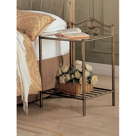 Coaster Company Sydney Metal Nightstand, Antique Brushed Gold ()