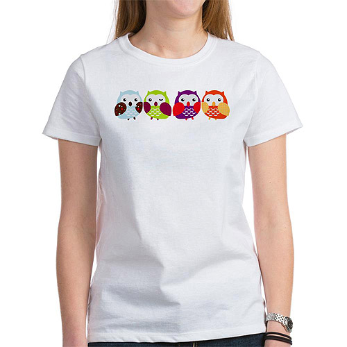Cafepress Women's Colorful Owls Graphic T-Shirt