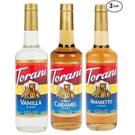 Torani Coffee Syrup Variety Pack - Vanilla, Caramel Classic, Amaretto, 3-count, 25.4-ounce Bottles