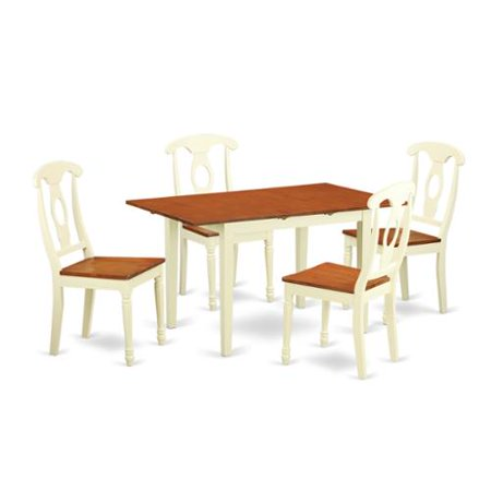 cherry rubberwood 5 piece dining table and chair set