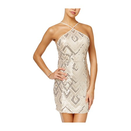 Crystal Doll Womens Textured A-line Bodycon Dress champgold 0 - Juniors