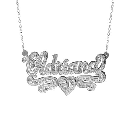 Personalized Sterling Silver or 14K Gold Plated Nameplate Necklace with Beading and Rhodium with an 18 inch Link Chain