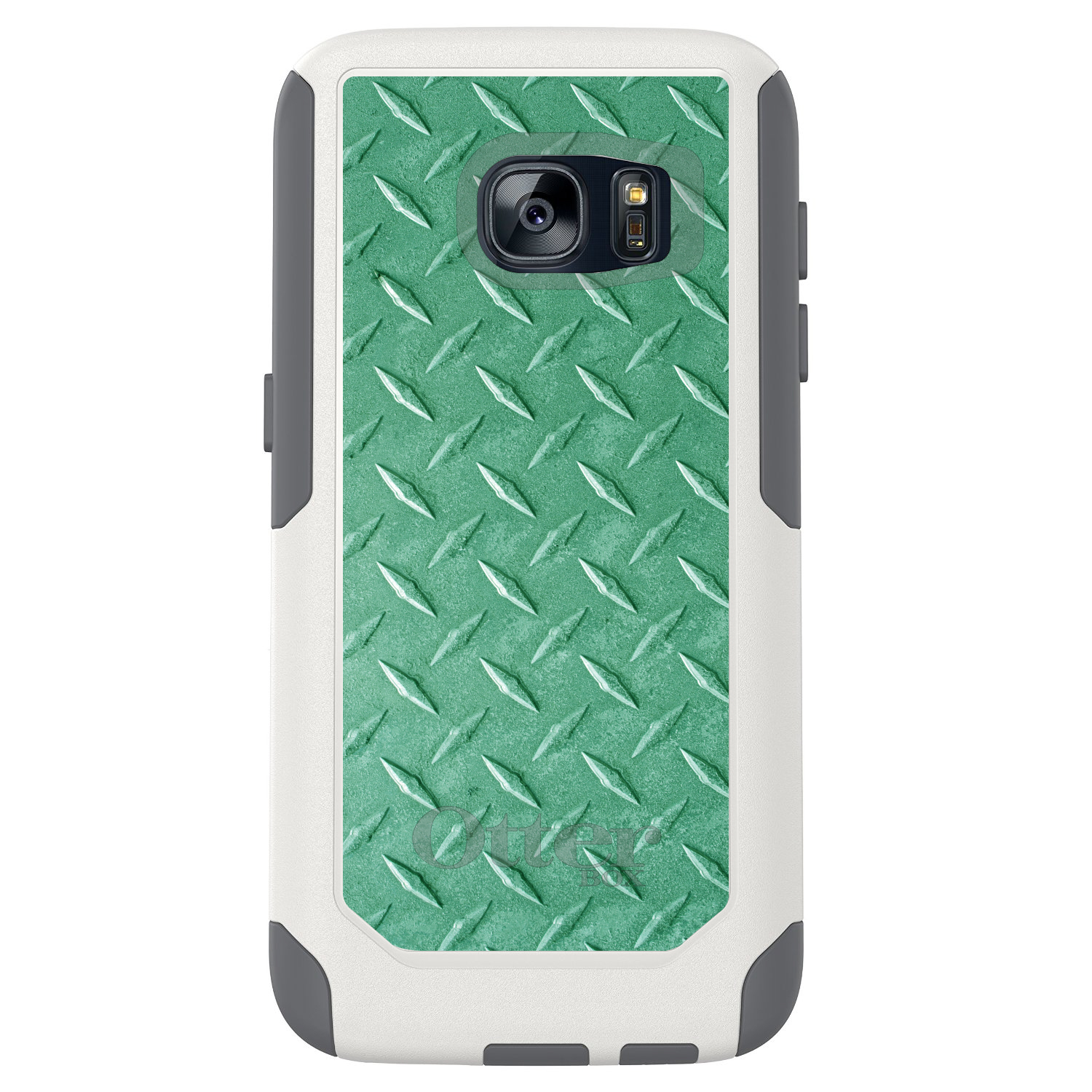 DistinctInk™ Custom White OtterBox Commuter Series Case for Samsung Galaxy S7 - Green Diamond Plate Steel Print