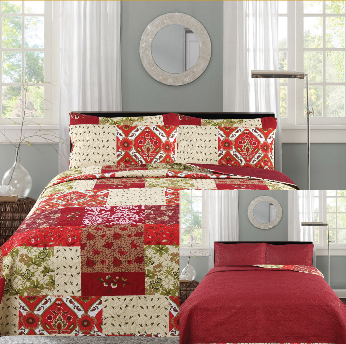 All American Collection New 3pc Printed Reversible Modern Floral Bedspread Coverlet... by American Linen & Rugs