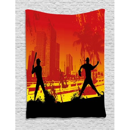 Teen Room Decor Tapestry, Men Playing Baseball in Town City Park Tall Buildings Urban Scenery, Wall Hanging for Bedroom Living Room Dorm Decor, 40W X 60L Inches, Red Yellow Black, - Scenery Buildings