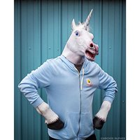 Unicorn Head and Hooves Mask Latex Rubber Mask Halloween Mask (White head and hooves)