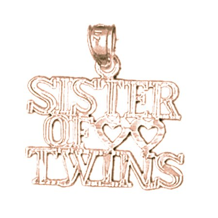 Rose Gold Plated 925 Sterling Silver 20Mm Sister Of Twins Charm Pendant  Approx  0 935 Grams