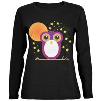 Halloween Starry Night Owl Black Womens Long Sleeve T-Shirt