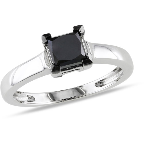 1 Carat T.W. Princess Cut Black Diamond Solitaire Ring in Sterling Silver