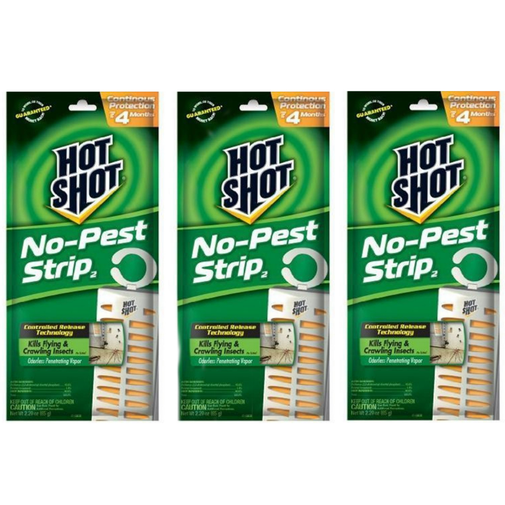 Hot Shot No Pest Strip Unscented Hanging Vapor Insect Repellent (3 PACK)