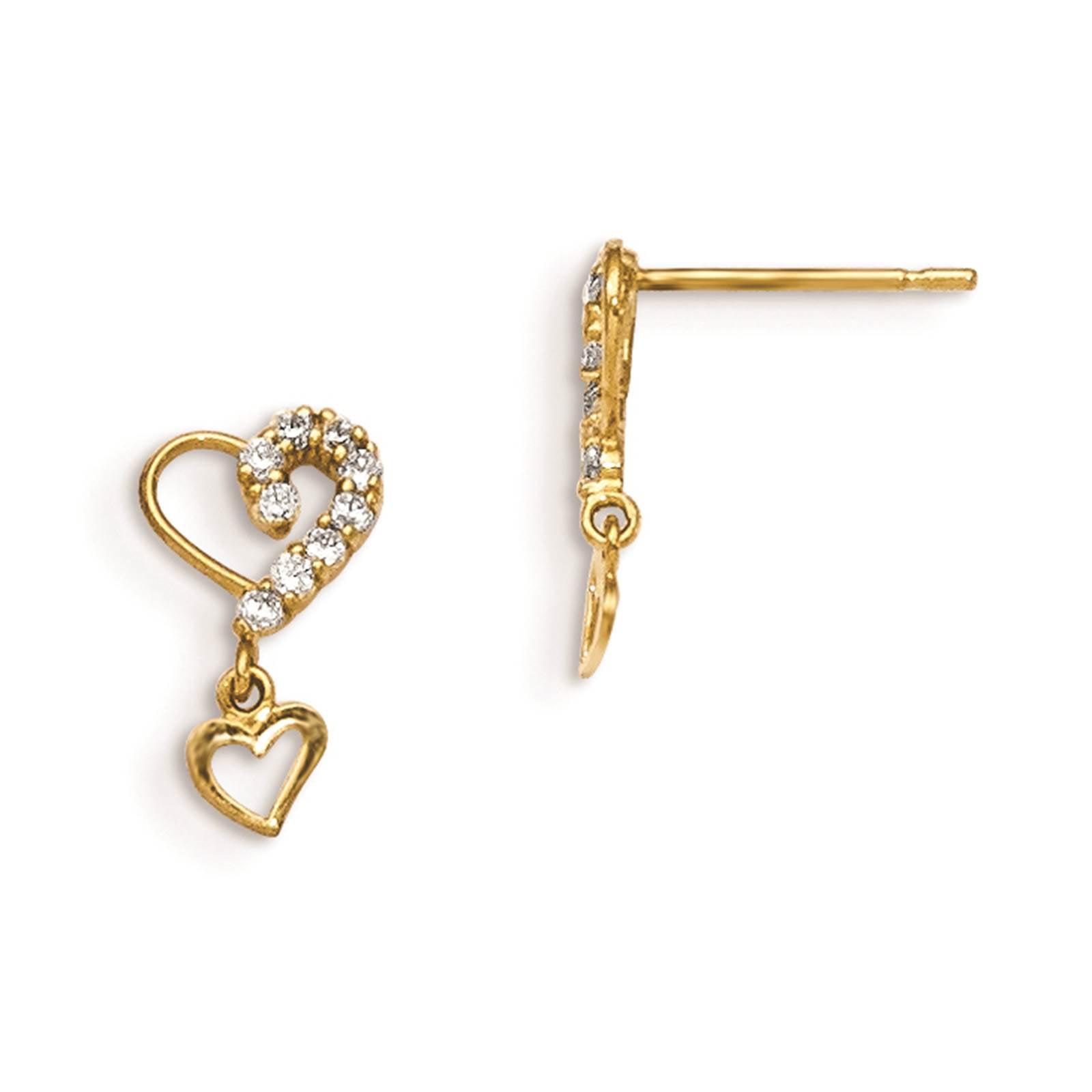 Madi K 14k Yellow Gold Children's Dangle Heart Post Earrings