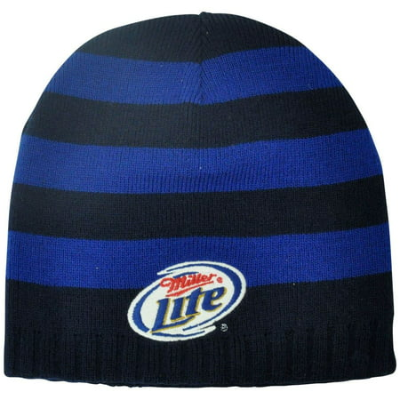 Miller Lite Striped Beanie Beer Knit Winter Navy Alcohol Cuffless Toque Hat